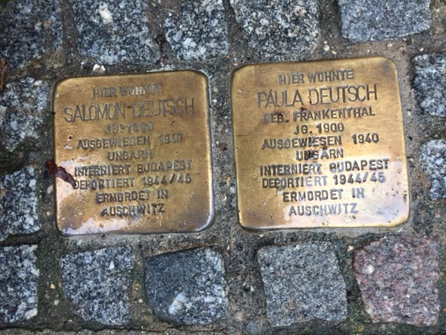 stolperstein image. two next to each other. Deutsch family.
